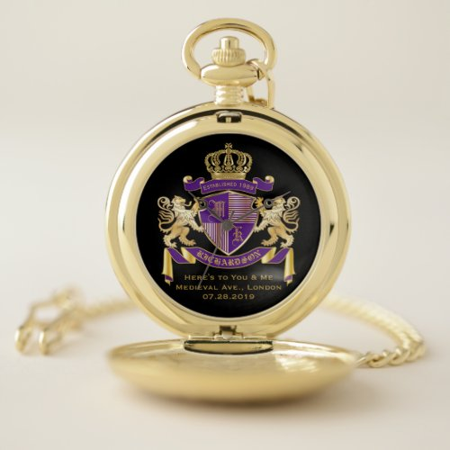 Create Your Own Coat of Arms Monogram Crown Emblem Pocket Watch