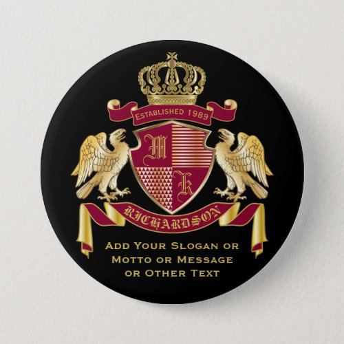 Create Your Own Coat of Arms Red Gold Eagle Emblem Button