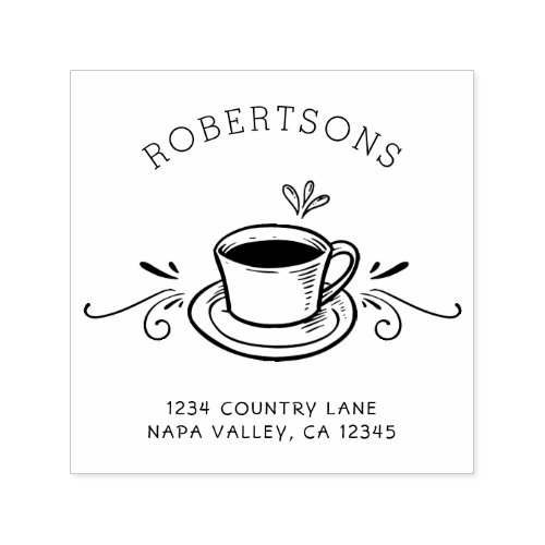 Create Your Own  Coffee Cup Return Address Self_inking Stamp