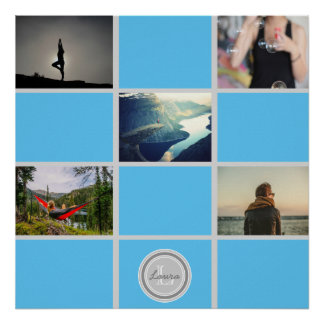 Create Your Own Collage Photos Blue Monogram Name Poster