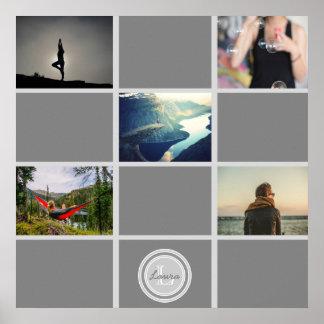 Create Your Own Collage Photos Gray Monogram Name Poster