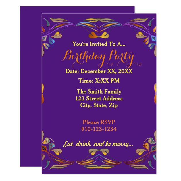 create your own colorful birthday party invitation