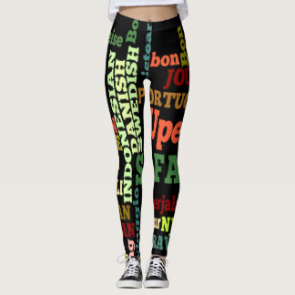 Create your own Colorful World National Languages Leggings