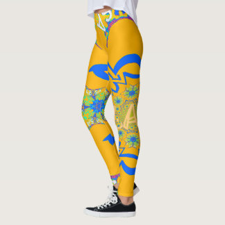 Create your own cool bright Yellow floral design Leggings