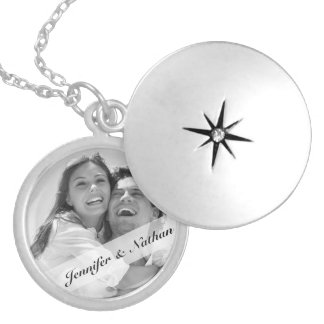 Create Your Own Couples Monogram Photo Round Locket Necklace