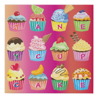 Create Your Own Cupcake Monogram Delicious Treats Faux Canvas Print