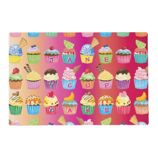 Create Your Own Cupcake Monogram Delicious Treats Placemat