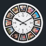 """Create Your Own Custom 12 Photo Collage Family Large Clock<br><div class=""""desc"""">Create your own personalized 12 photo Insta photo collage wall clock with your custom images. Add your favorite photos, designs or artworks to create something really unique. To edit this design template, click 'Change' and upload your own image as shown above. Click 'Customize' button to add more text or images,...</div>"""