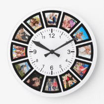 Create Your Own Custom 12 Photo Collage Family Large Clock