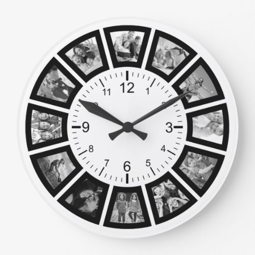 Create Your Own Custom 12 Photo Collage Instagram Large Clock