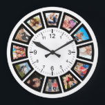 """Create Your Own Custom 12 Photo Collage Instagram Large Clock<br><div class=""""desc"""">Create your own personalized 12 photo Instagram photo collage wall clock with your custom images. Add your favorite photos, designs or artworks to create something really unique. To edit this design template, click"""