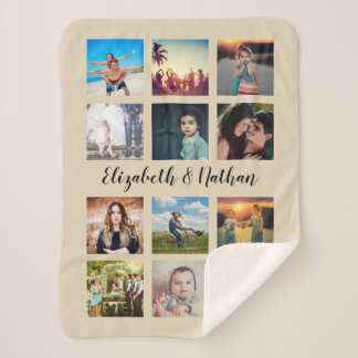 Create Your Own Custom 12 Photo Collage Instagram Sherpa Blanket