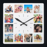 """Create Your Own Custom 12 Photo Collage Instagram Square Wall Clock<br><div class=""""desc"""">Create your own personalized 12 photo Instagram photo collage wall clock with your custom images. Add your favorite photos, designs or artworks to create something really unique. To edit this design template, click &#39;Change&#39; and upload your own image as shown above. Click &#39;Customize&#39; button to add more text or images,...</div>"""