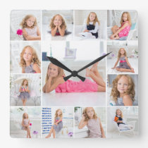 Create Your Own Custom 13 Photo Collage Family Square Wall Clock