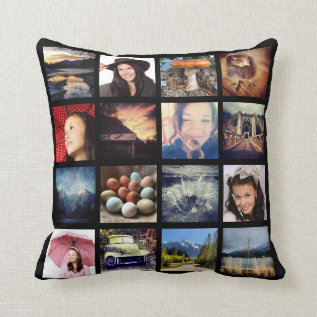 Create Your Own Custom 16 Instagram Photo Collage Throw Pillow at Zazzle