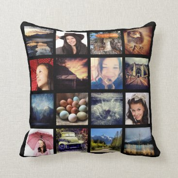 PartyHearty Create your Own Custom 16 Instagram Photo Collage Throw Pillow
