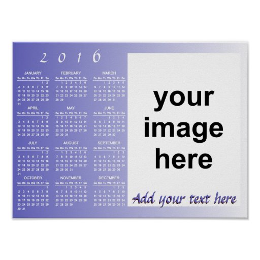 Calendar Design Your Own Free : Create your own custom photo calendar poster zazzle