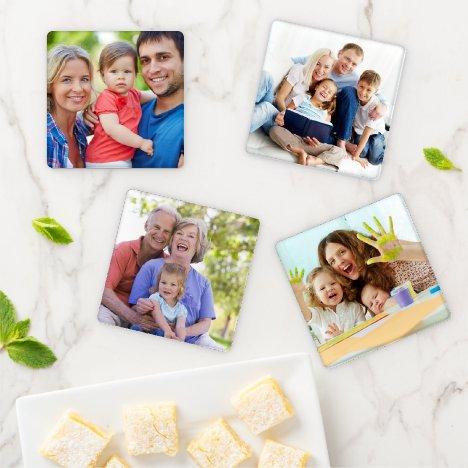 Create Your Own Custom 4 Photo Family Keepsake Coaster Set