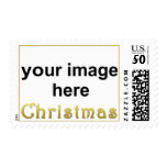 Create Your Own Custom CHRISTMAS Photo Postage<br><div class='desc'>Send your cards and invitations with elegant custom postage!  Upload your favorite photo or artwork.  Stamp features a thin gold border with &quot;Christmas&quot; written in a romantic golden font.</div>