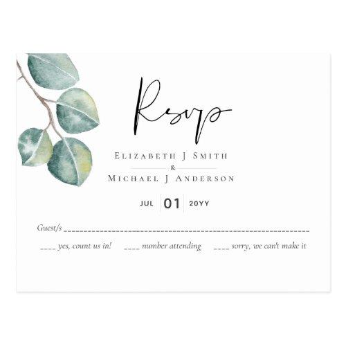 Create Your Own Custom Eucalyptus Greenery Wedding Postcard