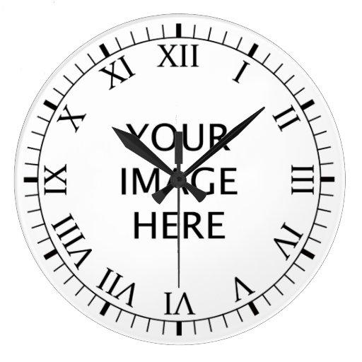 create your own custom large clock zazzle. Black Bedroom Furniture Sets. Home Design Ideas