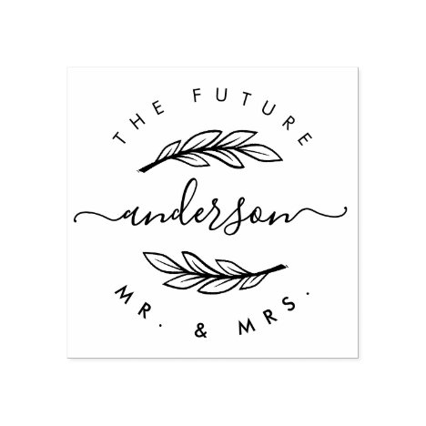 """Create Your Own Custom Modern """"Future Mr & Mrs"""" Rubber Stamp"""