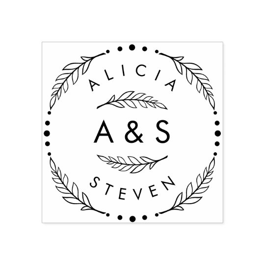 Design Your Own Rubber Stamp: Create Your Own Custom Modern Wedding Initials Rubber