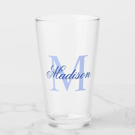 Create Your Own Custom Monogram And Name Blue Glass