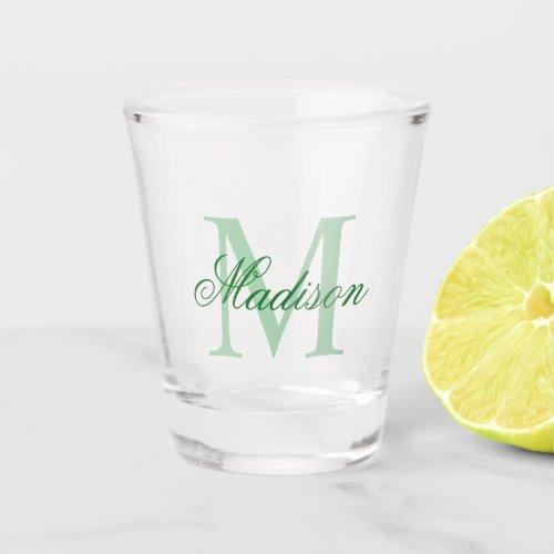 Create Your Own Custom Monogram And Name Green Shot Glass