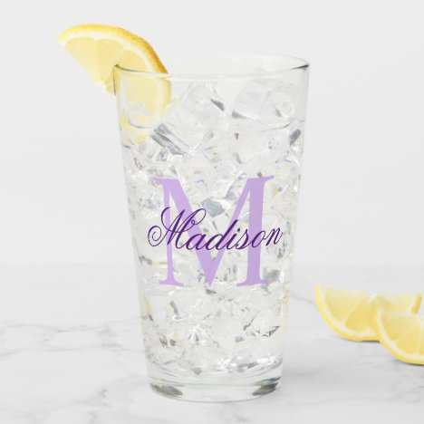 Create Your Own Custom Monogram And Name Purple Glass