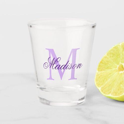 Create Your Own Custom Monogram And Name Purple Shot Glass