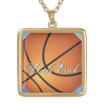Create your Own Custom Monogram Basketball Gold Finish Necklace