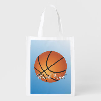 Create your Own Custom Monogram Basketball Reusable Grocery Bags