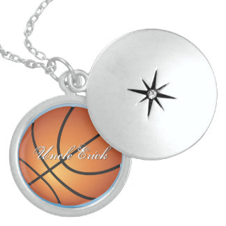 Create your Own Custom Monogram Basketball Round Locket Necklace