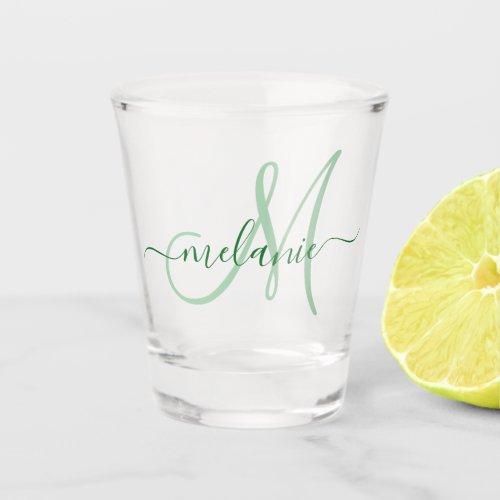 Create Your Own Custom Monogram Name Script Green Shot Glass
