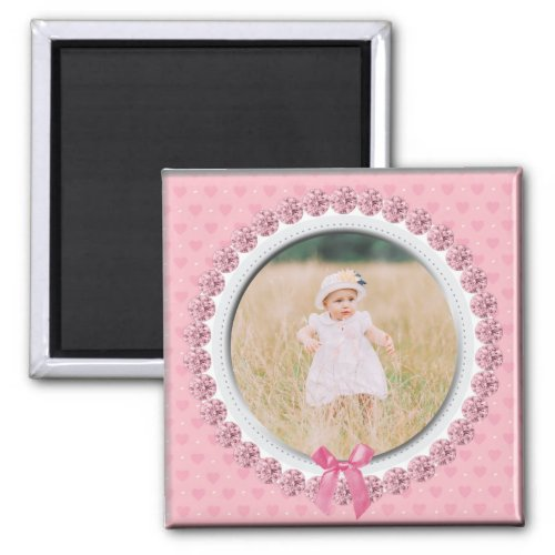Create Your Own Custom Photo Personalized Pink Magnet