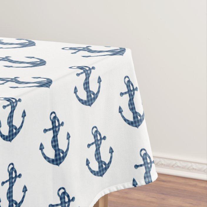Plaid Tartan Blue Anchor Tablecloth