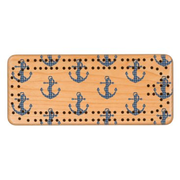 Create your own custom | Plaid tartan blue anchor Wood Cribbage Board