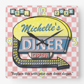 Create Your Own Custom Retro 50 s Diner Sign Square Wallclocks