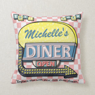 Create Your Own Custom Retro 50 s Diner Sign Throw Pillow