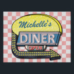 "Create Your Own Custom Retro 50&#39;s Diner Sign 2<br><div class=""desc"">Create your own custom, 1950&#39;s style diner sign wall poster using this simple template. These cool retro posters have a slightly distressed pink-and-white checkered background with a sign on top that says &quot;DINER&quot; and &quot;OPEN&quot; in neon with space for you to add your own first or last name - or...</div>"