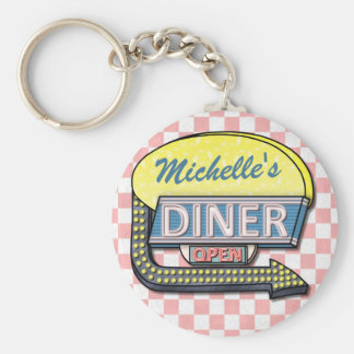 Create Your Own Custom Retro 50's Diner Sign 2 Keychain