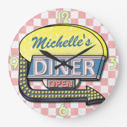 Create Your Own Custom Retro 50's Diner Sign 2 Large Clock