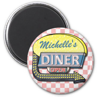 Create Your Own Custom Retro 50's Diner Sign 2 Refrigerator Magnets