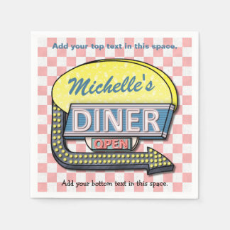 Create Your Own Custom Retro 50's Diner Sign 2 Paper Napkin