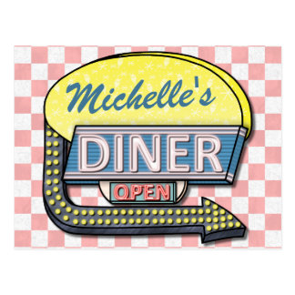 Create Your Own Custom Retro 50's Diner Sign 2 Postcard