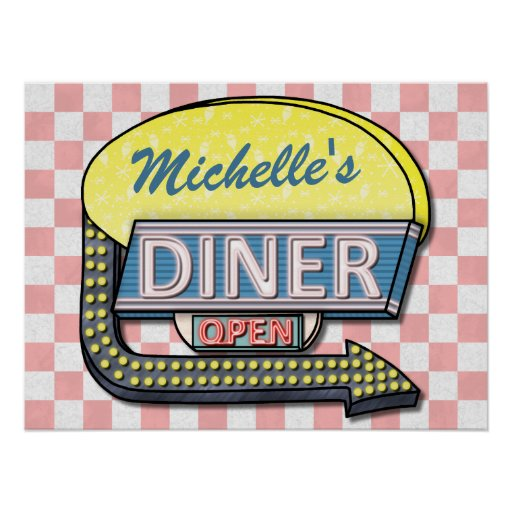 Create Your Own Custom Retro 50's Diner Sign 2 Poster