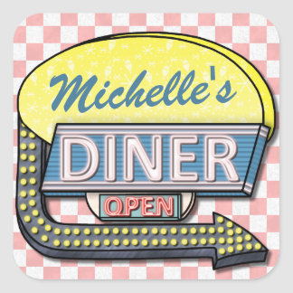 Create Your Own Custom Retro 50's Diner Sign 2 Square Sticker