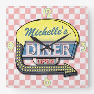 Create Your Own Custom Retro 50's Diner Sign 4 Square Wall Clock