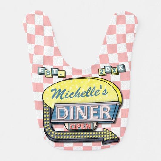 create your own custom retro 50 s diner sign bib zazzle com